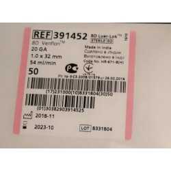 CATETER IV PERIF C/ VALVULA C/ALETA 20G (1,0X32MM) 391452 VENFLON C/ 50 UDS.